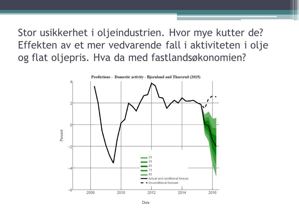 Stor usikkerhet i oljeindustrien. Hvor mye kutter de? Effekten av et mer vedvarende fall i aktiviteten i olje og flat oljepris. Hva da med fastlandsøk