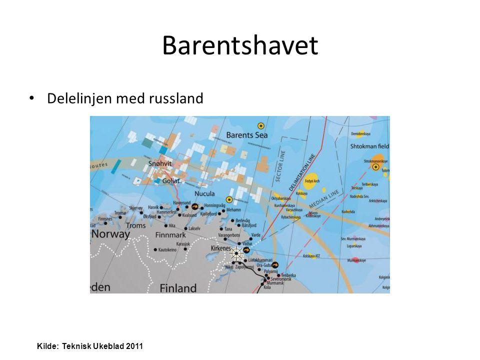 Barentshavet Delelinjen med russland Kilde: Teknisk Ukeblad 2011