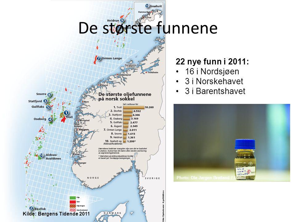 De største funnene Kilde: Bergens Tidende 2011 22 nye funn i 2011: 16 i Nordsjøen 3 i Norskehavet 3 i Barentshavet Photo: Ole Jørgen Bratland / Statoil