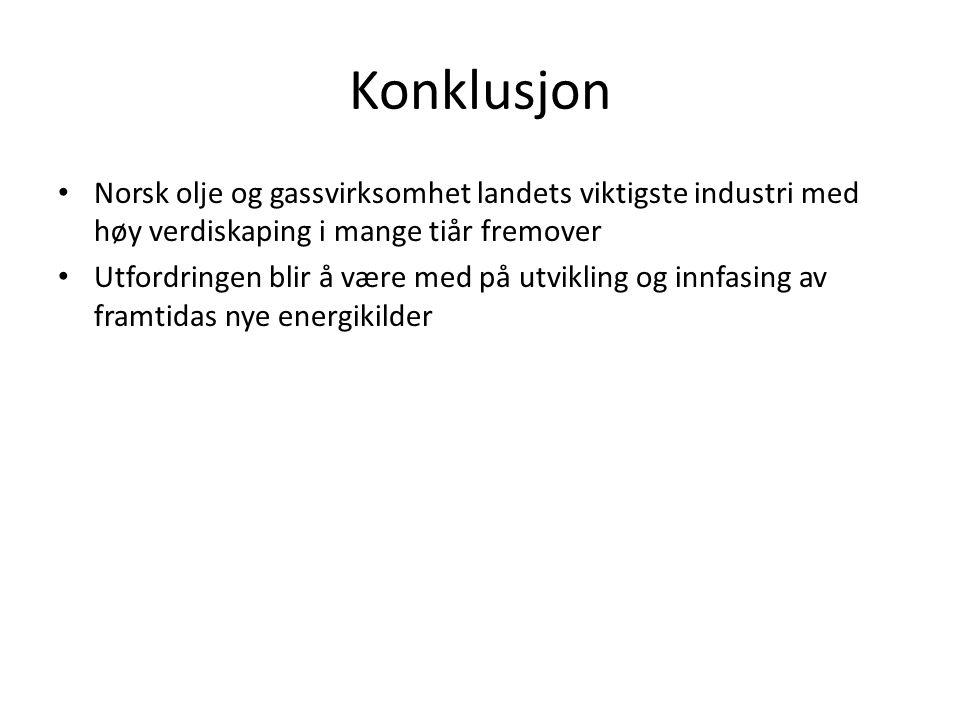 Konklusjon Norsk olje og gassvirksomhet landets viktigste industri med høy verdiskaping i mange tiår fremover Utfordringen blir å være med på utvikling og innfasing av framtidas nye energikilder