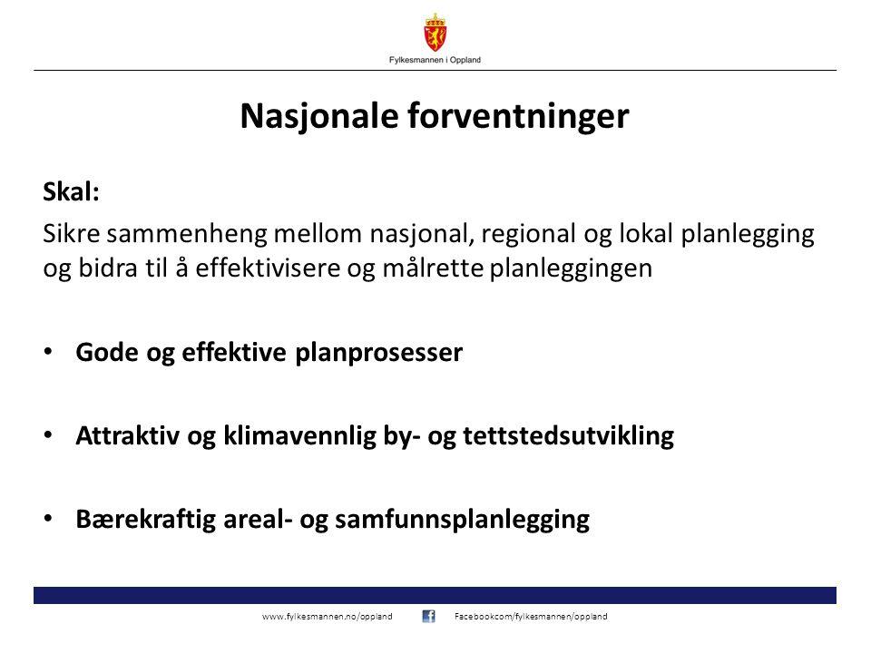 www.fylkesmannen.no/opplandFacebookcom/fylkesmannen/oppland Nasjonale forventninger Skal: Sikre sammenheng mellom nasjonal, regional og lokal planlegg