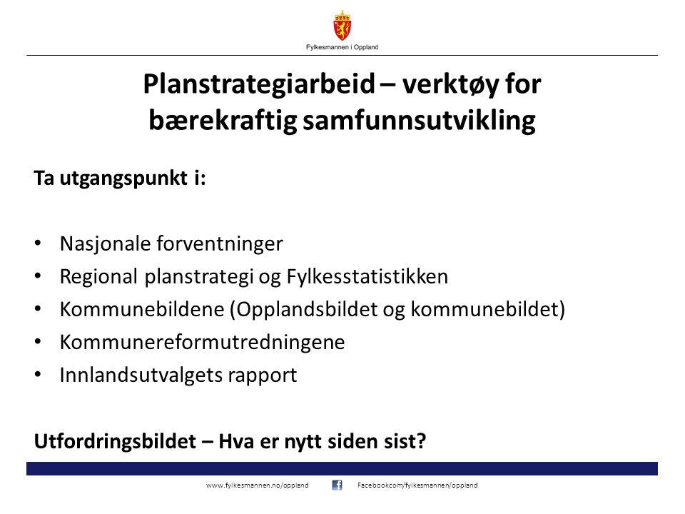 www.fylkesmannen.no/opplandFacebookcom/fylkesmannen/oppland Planstrategiarbeid – verktøy for bærekraftig samfunnsutvikling Ta utgangspunkt i: Nasjonal