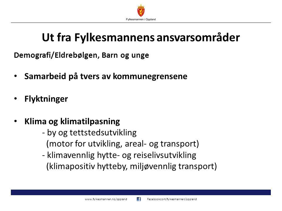www.fylkesmannen.no/opplandFacebookcom/fylkesmannen/oppland Ut fra Fylkesmannens ansvarsområder Demografi/Eldrebølgen, Barn og unge Samarbeid på tvers