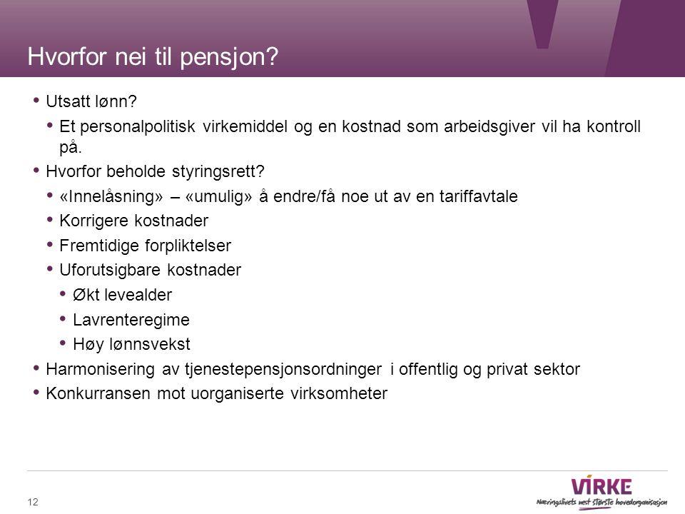 Hvorfor nei til pensjon. Utsatt lønn.