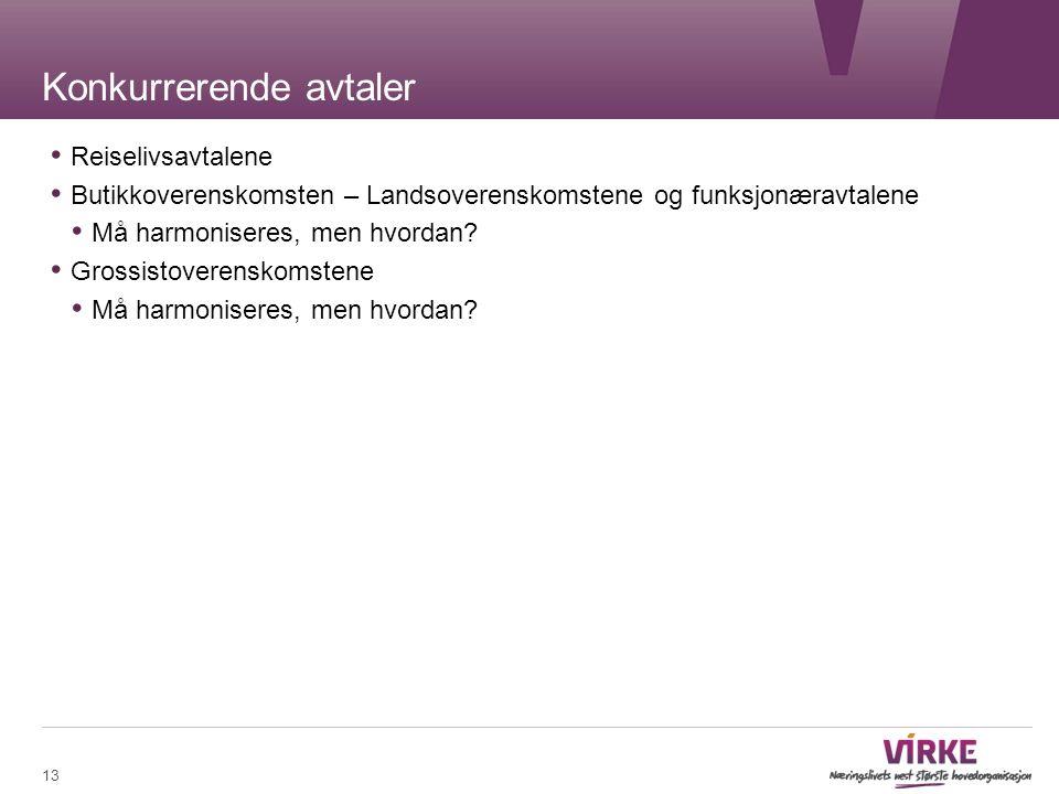 Konkurrerende avtaler Reiselivsavtalene Butikkoverenskomsten – Landsoverenskomstene og funksjonæravtalene Må harmoniseres, men hvordan.