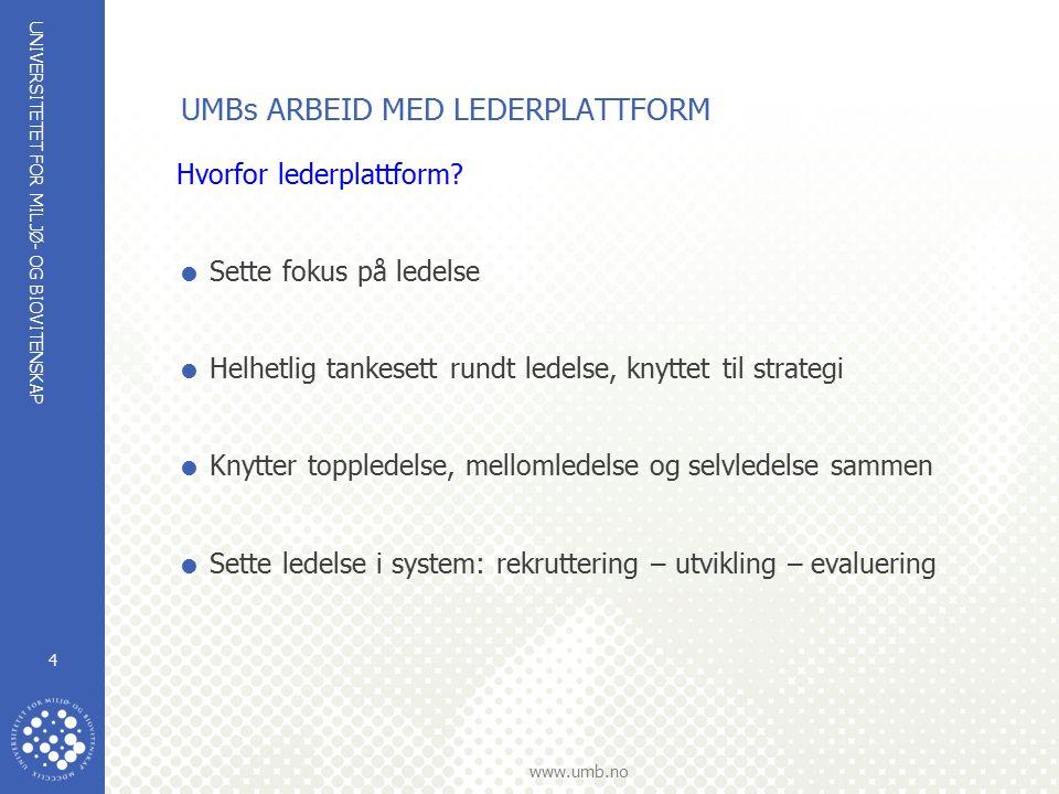 UNIVERSITETET FOR MILJØ- OG BIOVITENSKAP www.umb.no 5 UMBs ARBEID MED LEDERPLATTFORM Sammenheng UMB –visjon Samfunnsoppdrag Overordnet mål StrategiVerdigrunnlag Strategisk kompetanseplan Kritisk kompetanse og kjernekompetanse LedelseUndervisn.ForskningMerkevare bygging Interne prosesser (effektivitet) LEDERPLATTFORM