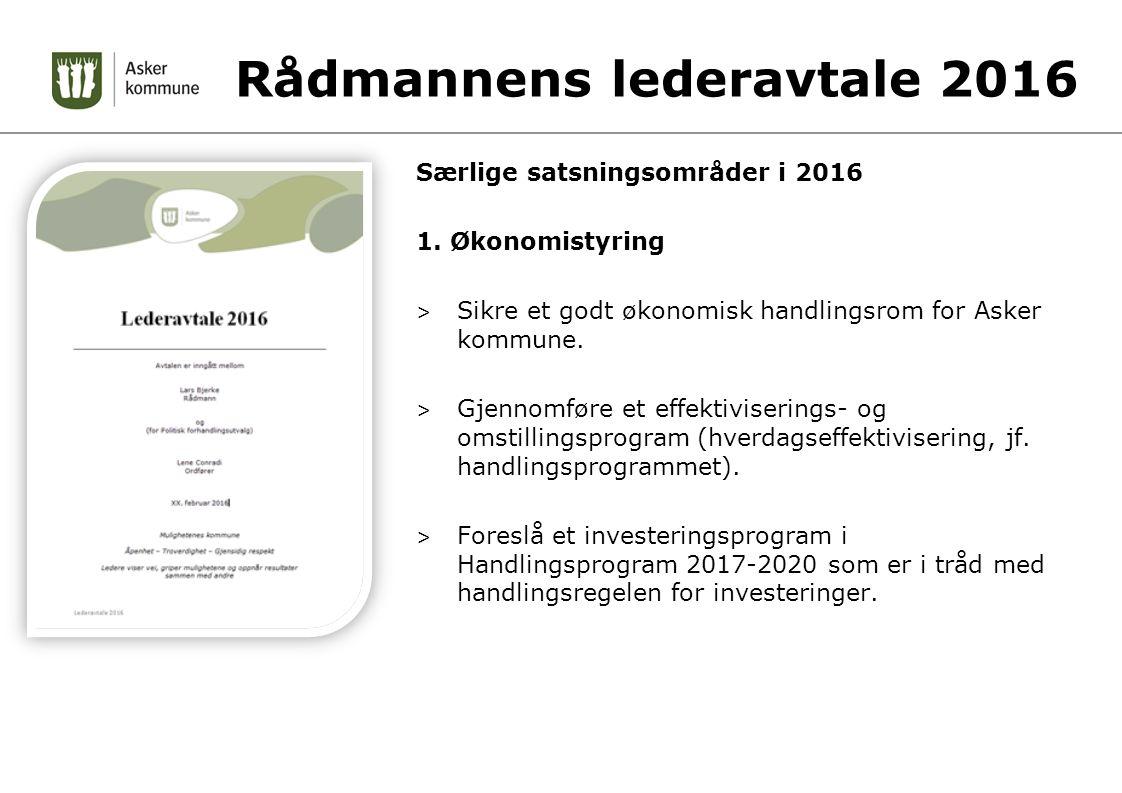 Rådmannens lederavtale 2016 Særlige satsningsområder i 2016 1.