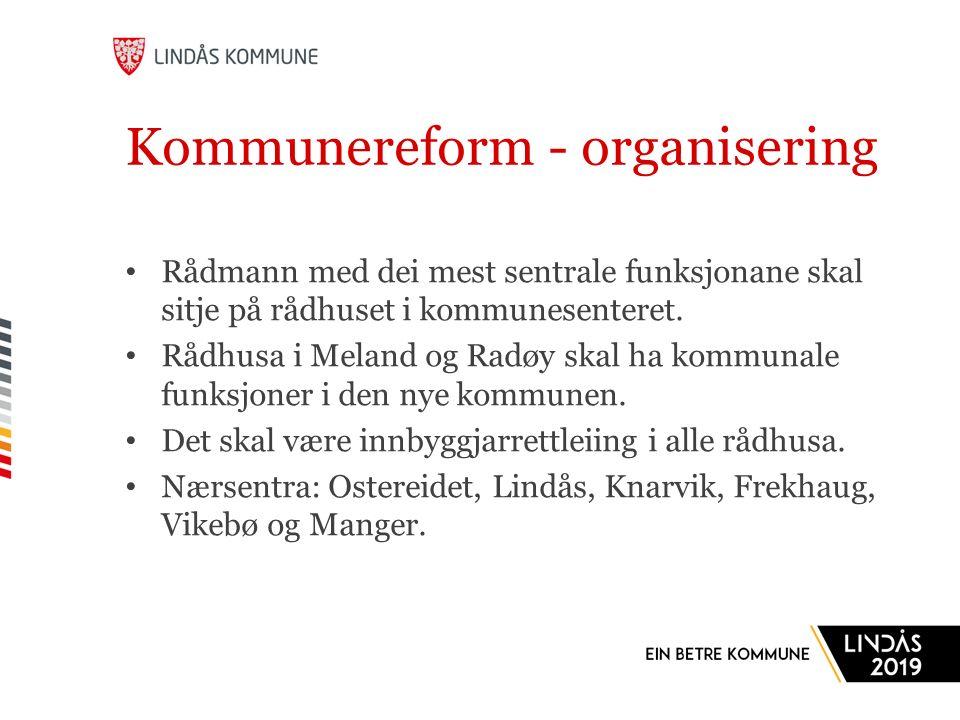 Kommunereform - organisering Rådmann med dei mest sentrale funksjonane skal sitje på rådhuset i kommunesenteret.