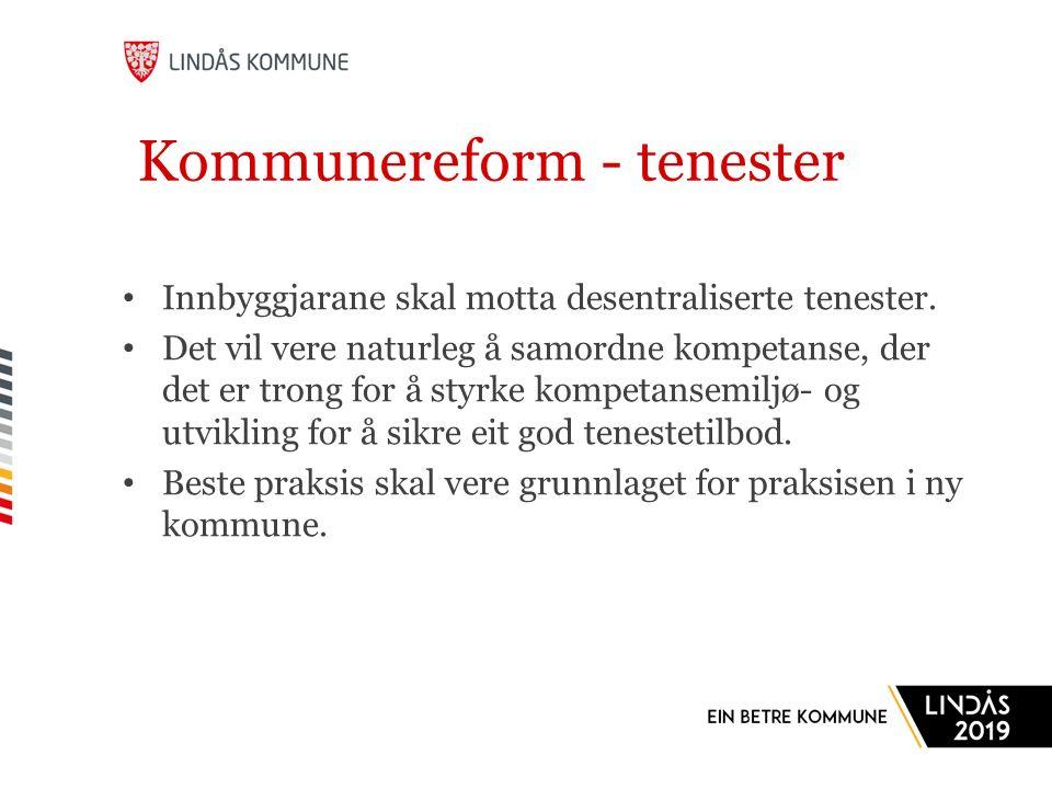 Kommunereform - tenester Innbyggjarane skal motta desentraliserte tenester.