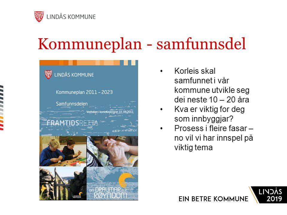 Kommuneplan - samfunnsdel Korleis skal samfunnet i vår kommune utvikle seg dei neste 10 – 20 åra Kva er viktig for deg som innbyggjar.