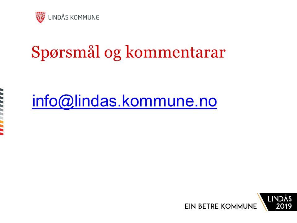Spørsmål og kommentarar info@lindas.kommune.no