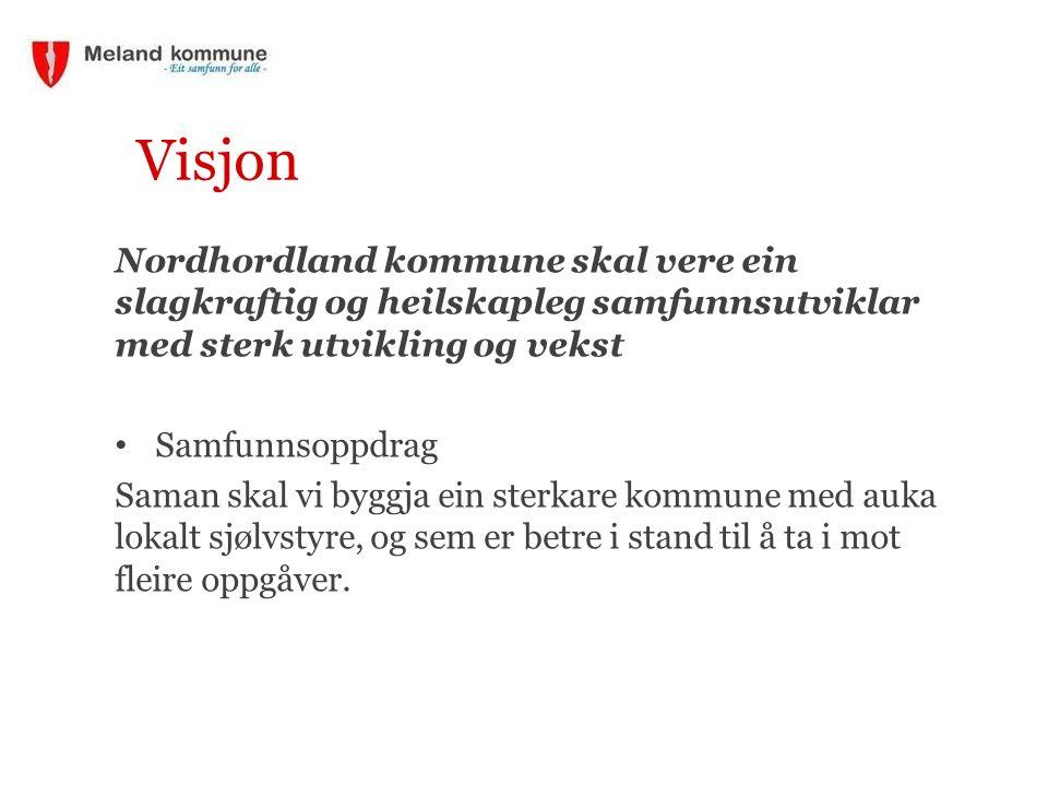 Visjon Nordhordland kommune skal vere ein slagkraftig og heilskapleg samfunnsutviklar med sterk utvikling og vekst Samfunnsoppdrag Saman skal vi byggj