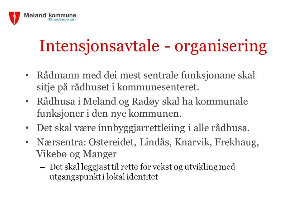 Intensjonsavtale - organisering Rådmann med dei mest sentrale funksjonane skal sitje på rådhuset i kommunesenteret. Rådhusa i Meland og Radøy skal ha