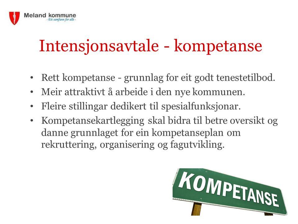 Intensjonsavtale - kompetanse Rett kompetanse - grunnlag for eit godt tenestetilbod.