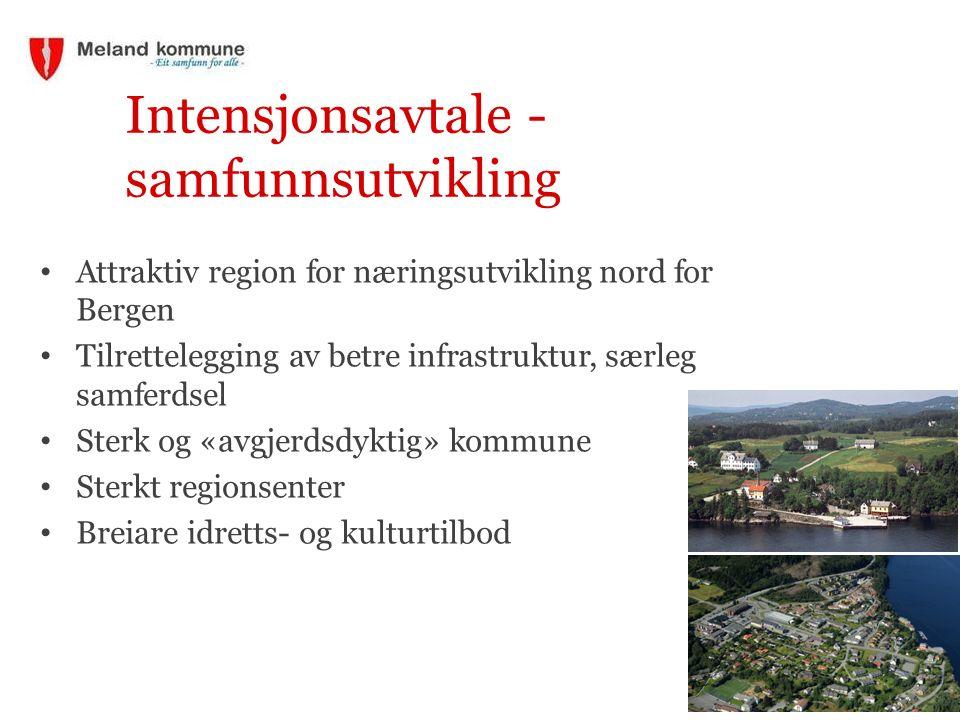 Intensjonsavtale - samfunnsutvikling Attraktiv region for næringsutvikling nord for Bergen Tilrettelegging av betre infrastruktur, særleg samferdsel S