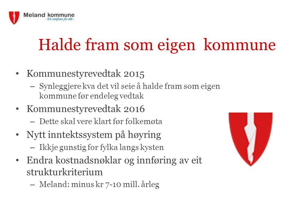 Halde fram som eigen kommune Kommunestyrevedtak 2015 – Synleggjere kva det vil seie å halde fram som eigen kommune før endeleg vedtak Kommunestyrevedt