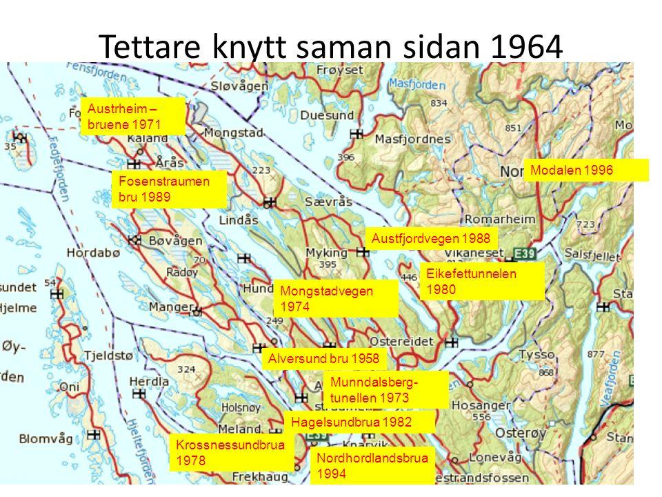 Tettare knytt saman sidan 1964 Alversund bru 1958 Nordhordlandsbrua 1994 Munndalsberg- tunellen 1973 Austrheim – bruene 1971 Austfjordvegen 1988 Mongs