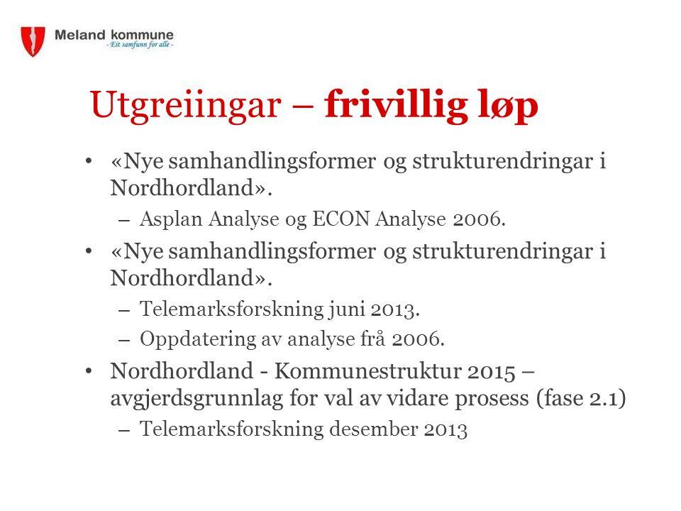 Utgreiingar – frivillig løp «Nye samhandlingsformer og strukturendringar i Nordhordland».