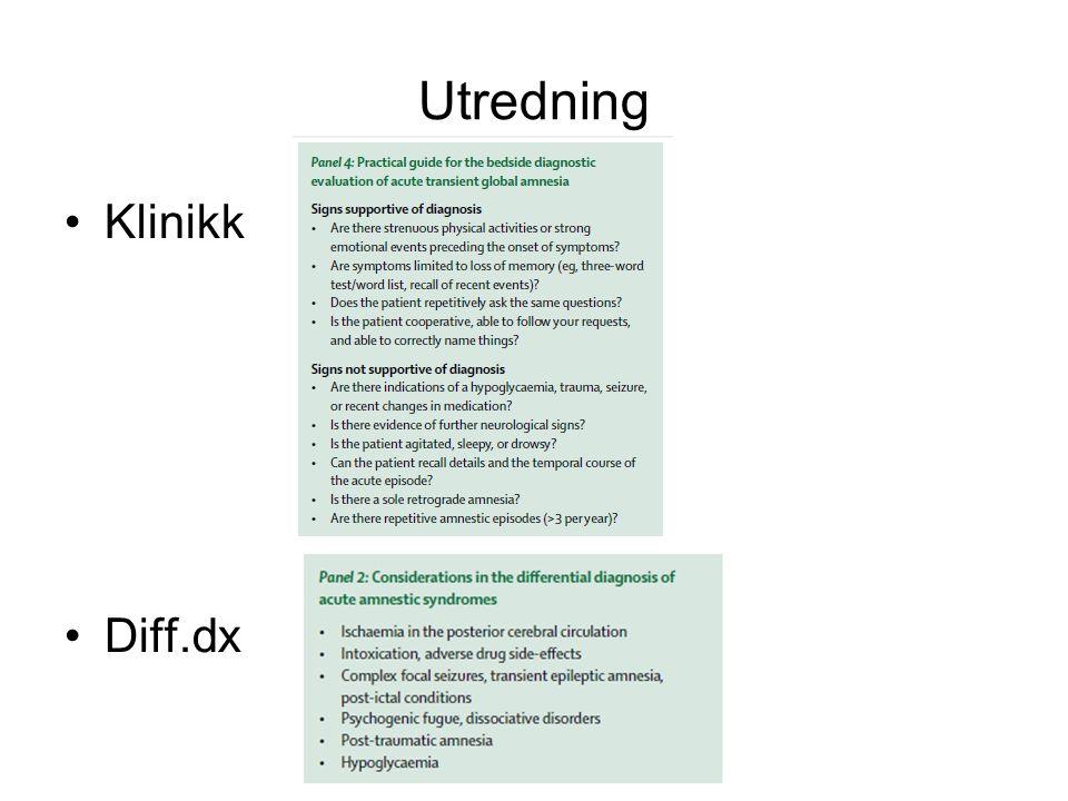 Utredning Klinikk Diff.dx