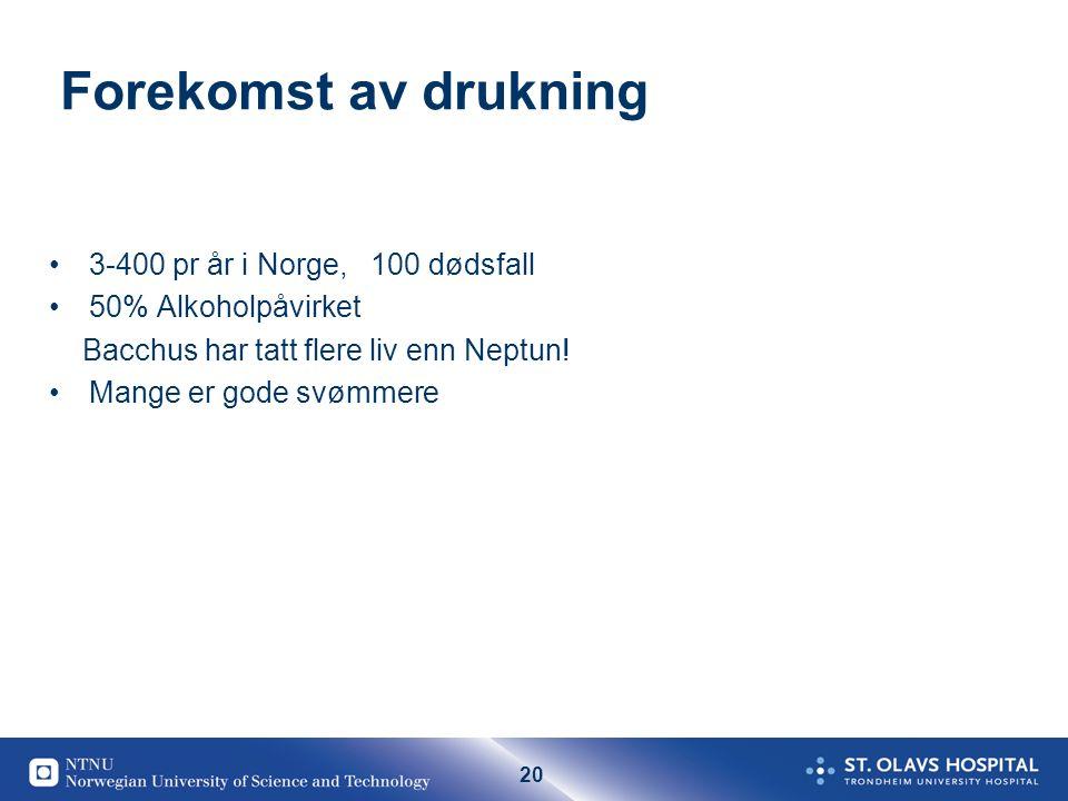 20 Forekomst av drukning 3-400 pr år i Norge, 100 dødsfall 50% Alkoholpåvirket Bacchus har tatt flere liv enn Neptun.