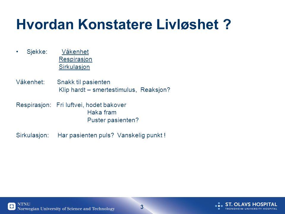 44 Forekomst av stans utenfor sykehus Cirka 3000 pr år I Norge Plutselig/potensiellt reversibel livløshet (OHCA) minst 3-500 av disse bør kunne reddes 350 dør av trafikkulykker.