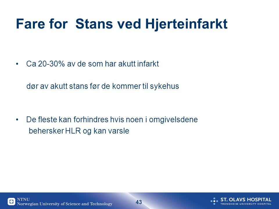 43 Fare for Stans ved Hjerteinfarkt Ca 20-30% av de som har akutt infarkt dør av akutt stans før de kommer til sykehus De fleste kan forhindres hvis n
