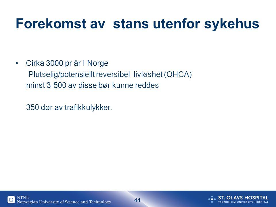 44 Forekomst av stans utenfor sykehus Cirka 3000 pr år I Norge Plutselig/potensiellt reversibel livløshet (OHCA) minst 3-500 av disse bør kunne reddes