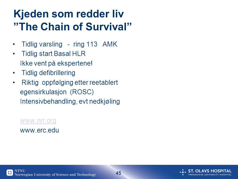 """45 Kjeden som redder liv """"The Chain of Survival"""" Tidlig varsling - ring 113 AMK Tidlig start Basal HLR Ikke vent på ekspertene! Tidlig defibrillering"""