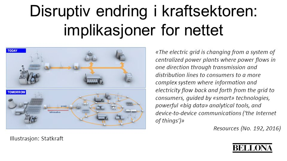 Disruptiv endring i kraftsektoren: implikasjoner for nettet Illustrasjon: Statkraft «The electric grid is changing from a system of centralized power plants where power flows in one direction through transmission and distribution lines to consumers to a more complex system where information and electricity flow back and forth from the grid to consumers, guided by «smart» technologies, powerful «big data» analytical tools, and device-to-device communications ('the Internet of things')» Resources (No.