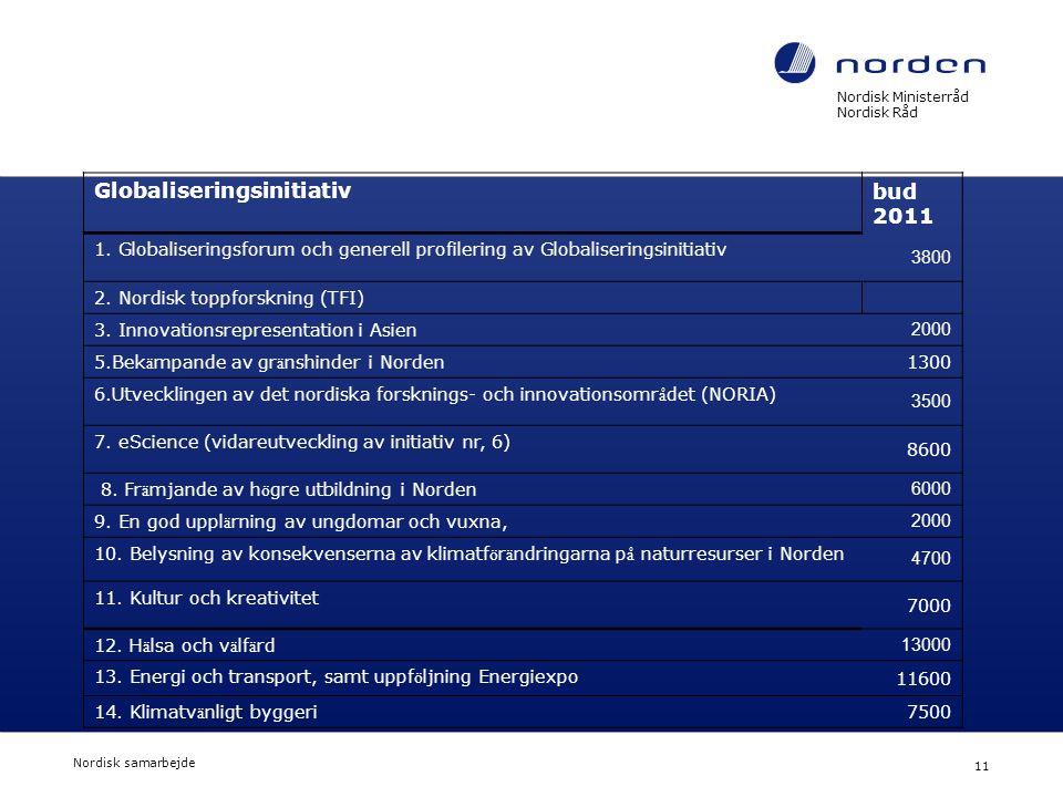 Nordisk Ministerråd Nordisk Råd Nordisk samarbejde 11 Globaliseringsinitiativ bud 2011 1. Globaliseringsforum och generell profilering av Globaliserin