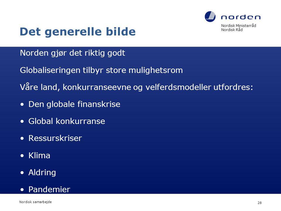 Nordisk Ministerråd Nordisk Råd Nordisk samarbejde 28 Det generelle bilde Norden gjør det riktig godt Globaliseringen tilbyr store mulighetsrom Våre l
