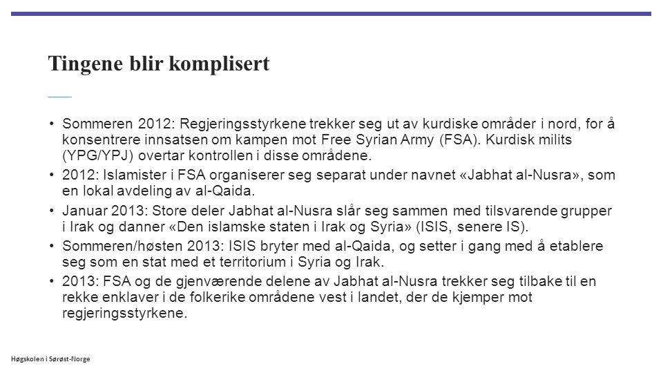 Høgskolen i Sørøst-Norge Tingene blir komplisert Sommeren 2012: Regjeringsstyrkene trekker seg ut av kurdiske områder i nord, for å konsentrere innsat
