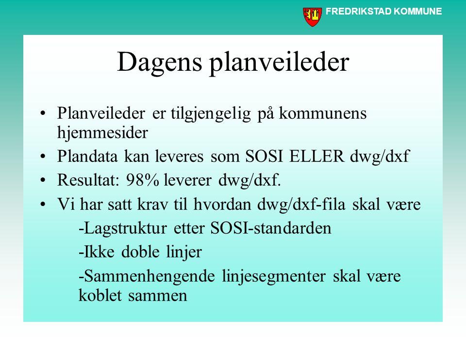 FREDRIKSTAD KOMMUNE Dagens planveileder Planveileder er tilgjengelig på kommunens hjemmesider Plandata kan leveres som SOSI ELLER dwg/dxf Resultat: 98% leverer dwg/dxf.