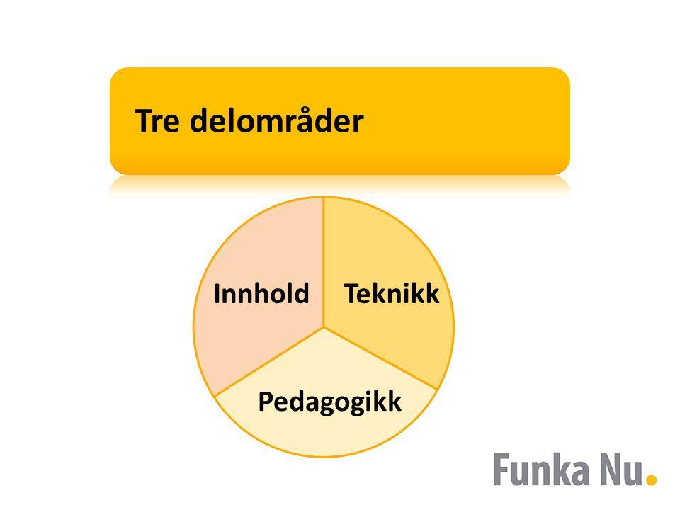 Tre delområder Innhold Pedagogikk Teknikk