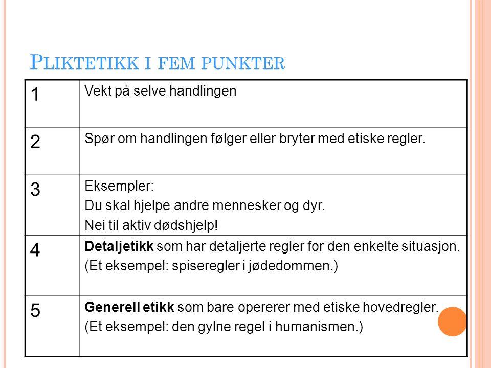 P LIKTETIKK I FEM PUNKTER 1 Vekt på selve handlingen 2 Spør om handlingen følger eller bryter med etiske regler.