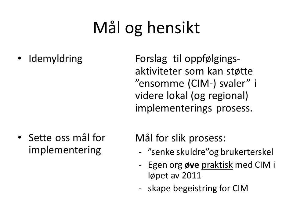 """Mål og hensikt Idemyldring Sette oss mål for implementering Forslag til oppfølgings- aktiviteter som kan støtte """"ensomme (CIM-) svaler"""" i videre lokal"""