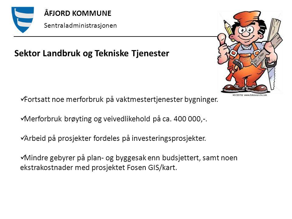ÅFJORD KOMMUNE Sentraladministrasjonen Investeringsprosjekter Omsorgsboliger: Prosjekt med totalbudsjett på 50 millioner.