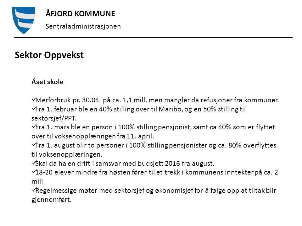 ÅFJORD KOMMUNE Sentraladministrasjonen Sektor Oppvekst Stoksund skole og barnehage Merforbruk på kr.