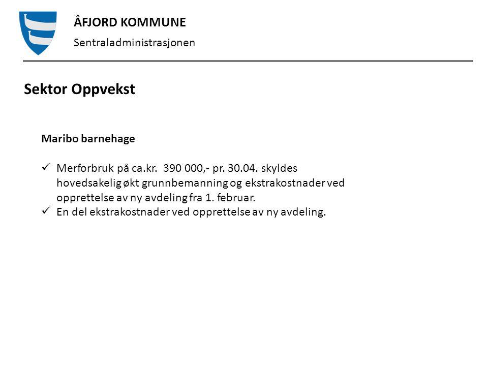 ÅFJORD KOMMUNE Sentraladministrasjonen Sektor Oppvekst By barnehage Merforbruk på kr.
