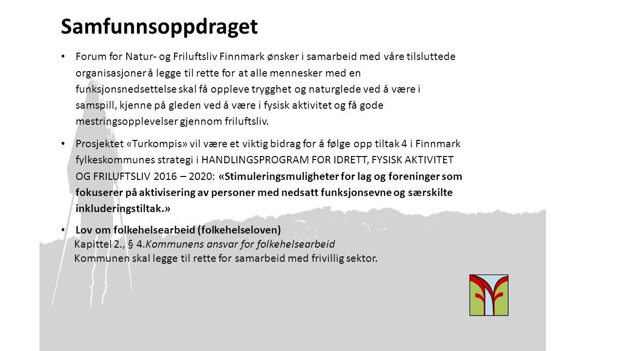 Samfunnsoppdraget Forum for Natur- og Friluftsliv Finnmark ønsker i samarbeid med våre tilsluttede organisasjoner å legge til rette for at alle mennes