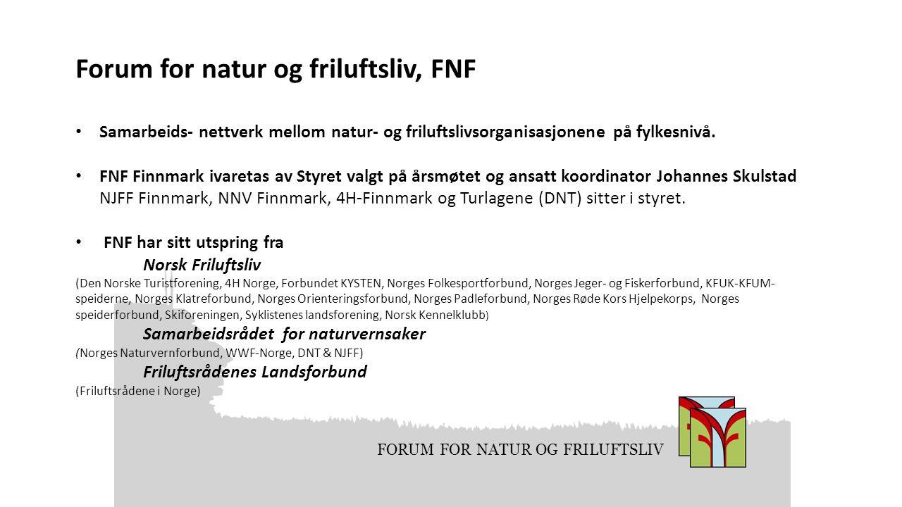 FORUM FOR NATUR OG FRILUFTSLIV Forum for natur og friluftsliv, FNF Samarbeids- nettverk mellom natur- og friluftslivsorganisasjonene på fylkesnivå. FN