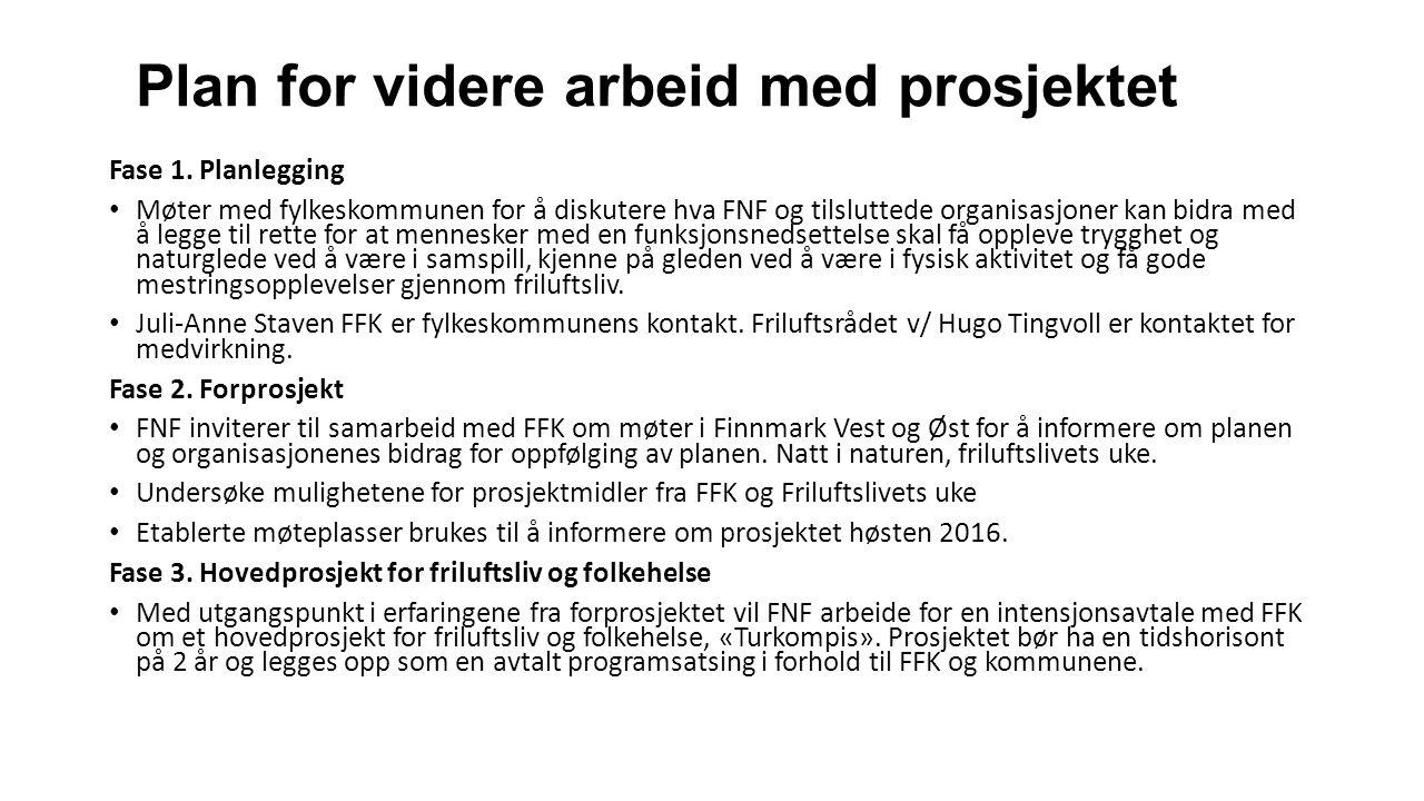Plan for videre arbeid med prosjektet Fase 1. Planlegging Møter med fylkeskommunen for å diskutere hva FNF og tilsluttede organisasjoner kan bidra med