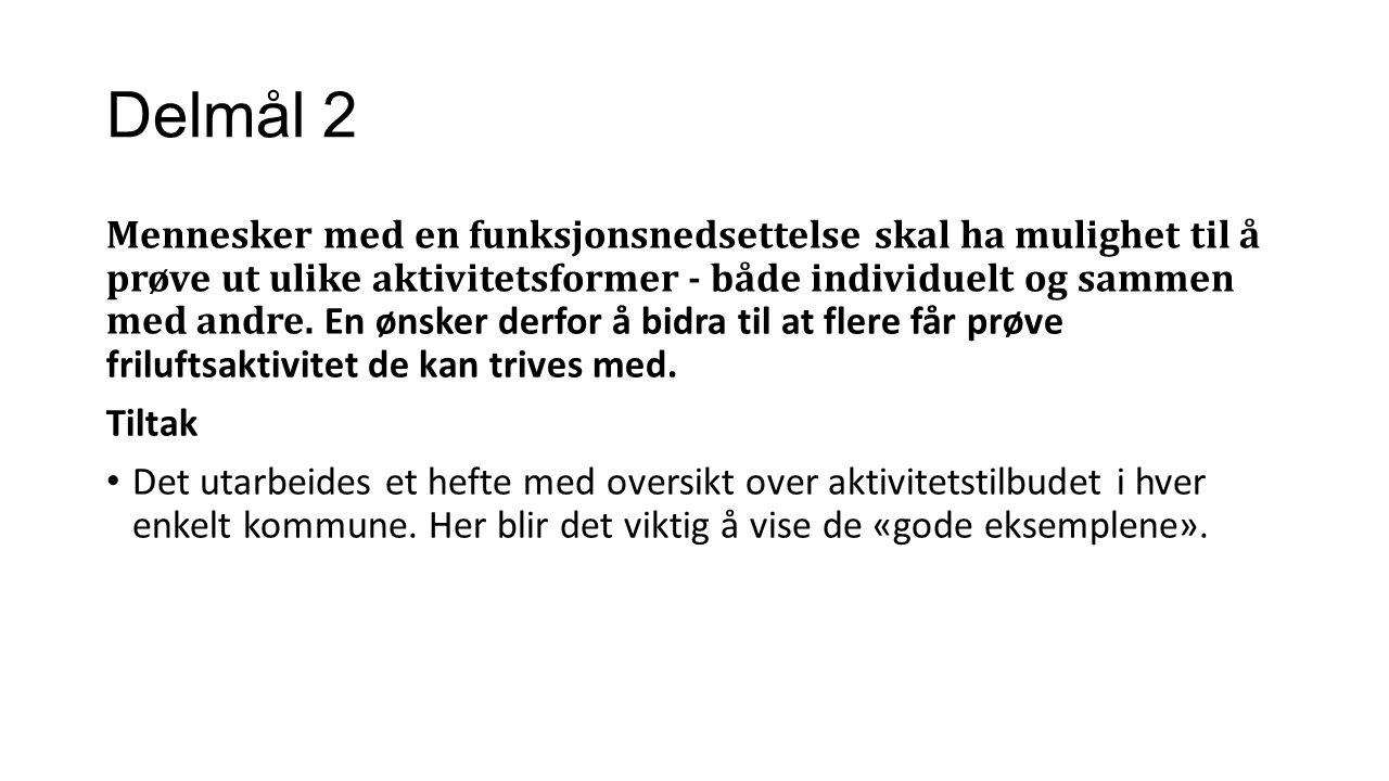 Delmål 2 Mennesker med en funksjonsnedsettelse skal ha mulighet til å prøve ut ulike aktivitetsformer - både individuelt og sammen med andre.