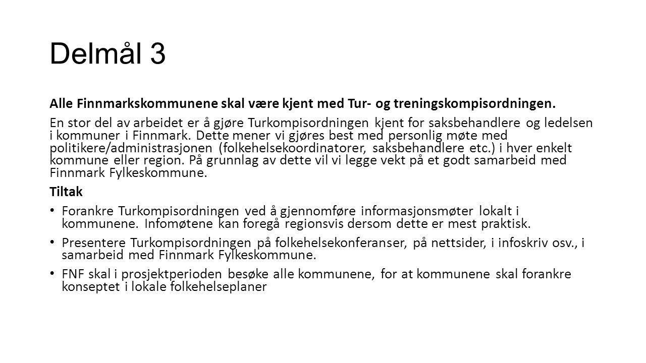 Delmål 3 Alle Finnmarkskommunene skal være kjent med Tur- og treningskompisordningen. En stor del av arbeidet er å gjøre Turkompisordningen kjent for