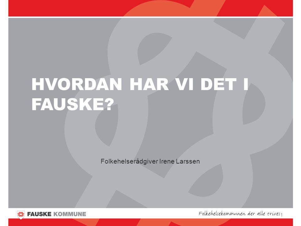 HVORDAN HAR VI DET I FAUSKE Folkehelserådgiver Irene Larssen 1