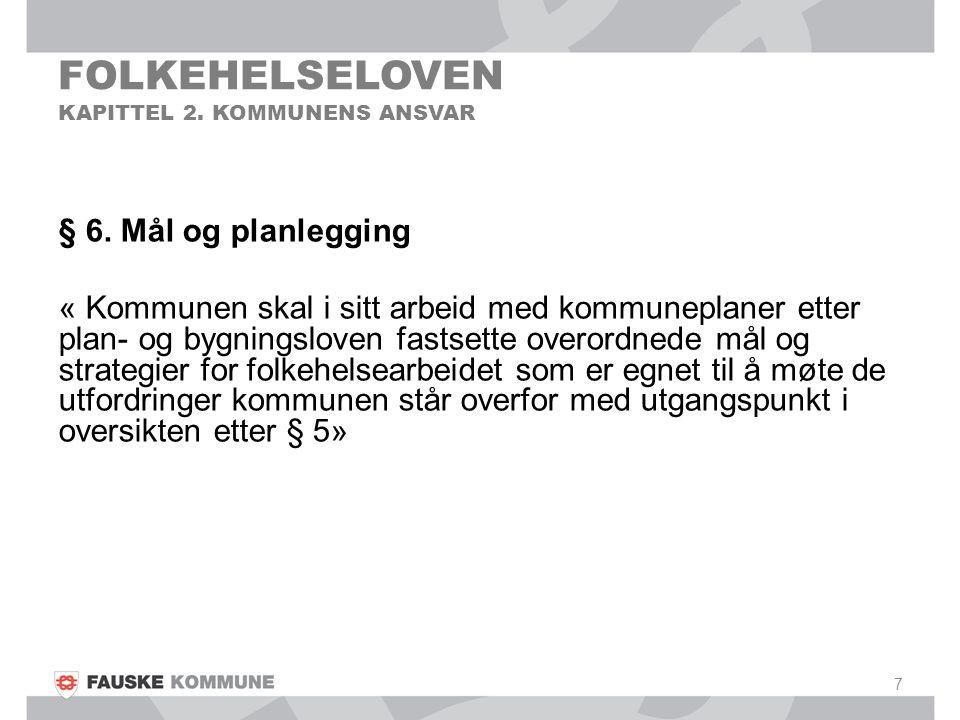 FOLKEHELSELOVEN KAPITTEL 2. KOMMUNENS ANSVAR § 6. Mål og planlegging « Kommunen skal i sitt arbeid med kommuneplaner etter plan- og bygningsloven fast