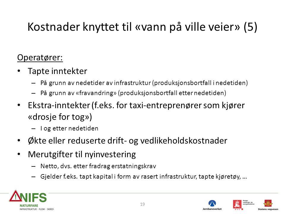 Kostnader knyttet til «vann på ville veier» (5) Operatører: Tapte inntekter – På grunn av nedetider av infrastruktur (produksjonsbortfall i nedetiden) – På grunn av «fravandring» (produksjonsbortfall etter nedetiden) Ekstra-inntekter (f.eks.