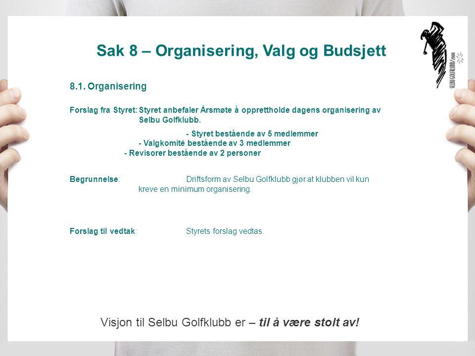 Sak 8 – Organisering, Valg og Budsjett 8.1.