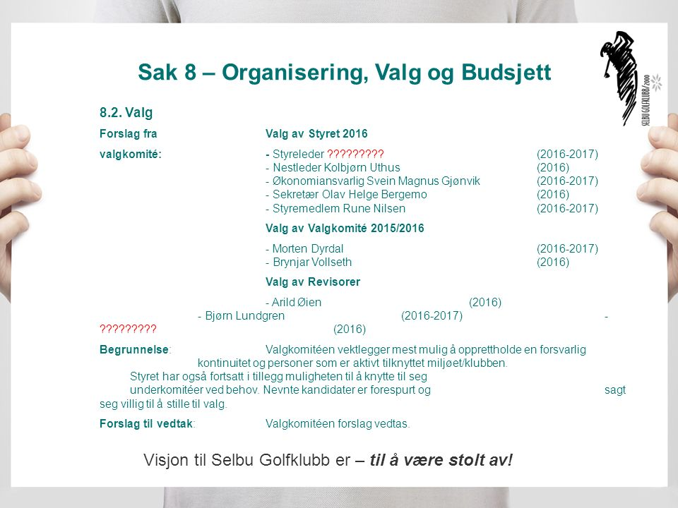 Sak 8 – Organisering, Valg og Budsjett 8.2.
