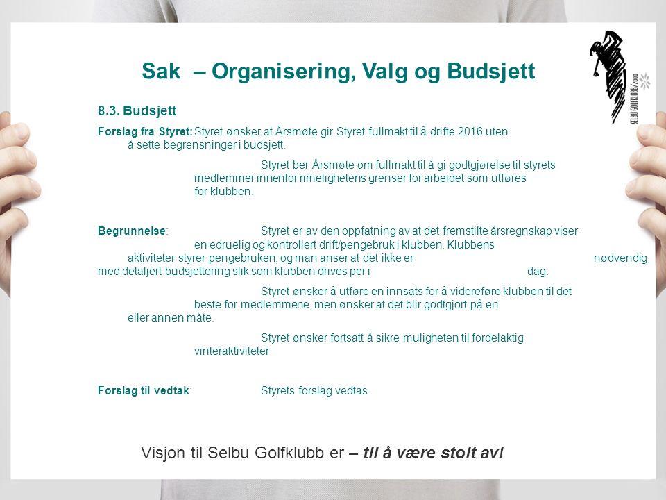 Sak – Organisering, Valg og Budsjett 8.3.